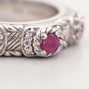 Judith Ripka sterling silver ruby ring.